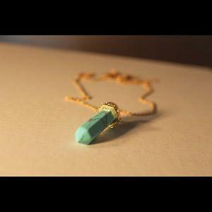 Teal Crystal Form Necklace